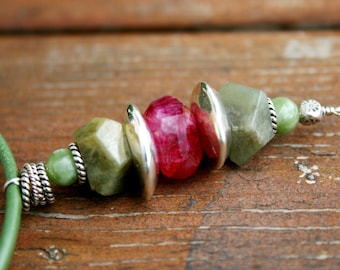 WATERMELON Moonstone, Jade and Sterling Necklace