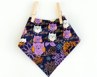 Reversible owl print bandana bib, Adjustable size lavender Buffalo plaid bib, Patchwork navy owls print cotton bib, Purple & navy baby scarf