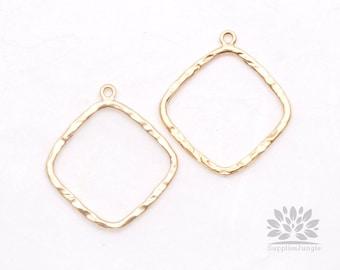 P509-MG// Matt Gold Plated Rhombus Pendant, 2 pcs