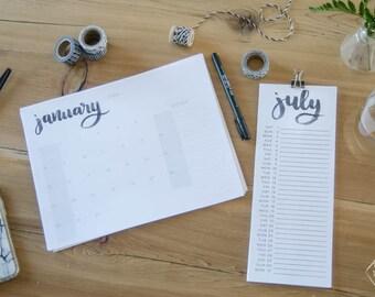 SALE 50% 2017 Hand Lettered Calendar