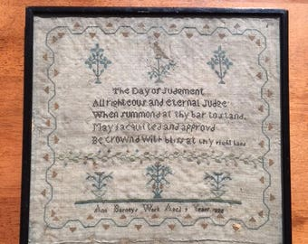 Antique Sampler, Needlework; Ann Barney's Work, Aged 9 Years, Dated 1820