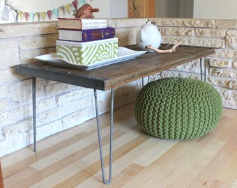 Industrial Rustic Reclaimed Wood Coffee Table on Hairpin Legs, Mid Century