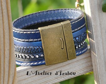 Navy Blue MULTISTRAND leather Cuff Bracelet