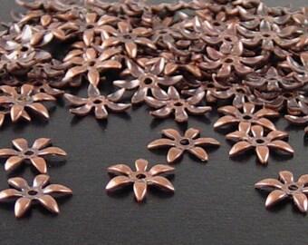 Brass Copper Bead Cap 100 Antique Copper Flower Victorian 6 point Tiny Bendable 7.5mm (1118cap07c1)xz