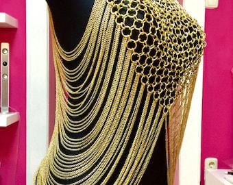 body chain Bra cleopatra quen shoulder jewelry gold A B C D dd Cross BDSM Choker Harness Fetish Glamour Gothic