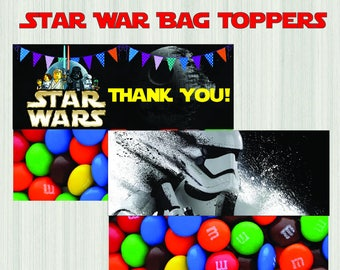 STAR WARS Bag Topper, PRINTABLE Star Wars Treat Bag Topper, Star Wars Favor Bags Toppers, Star Wars Party Favors, Star Wars Birthday Party