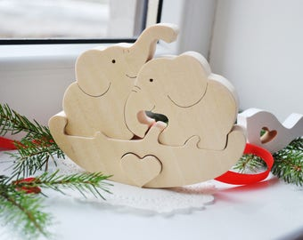 Puzzle Toy elephant - Wooden Puzzle elephant - Educational toys - Wooden Swing - Kids gifts - Animal puzzle - elephant Family