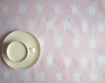 Tablecloth pink white princess crown kids party Modern Design also curtains available, great GIFT