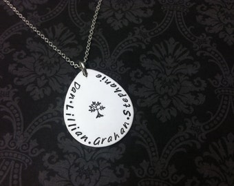 Family Tree necklace hand stamped jewelry personalized necklace