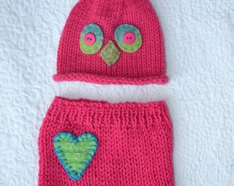 SALE Newborn Girl Outfit RTS BaBY PHoTO PRoPs Hot Pink Owl Hat Pant SET Baby Bird Beanie Heart Short Costume CoMiNG HoME Anime Toque Pants