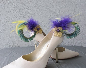 Mardi Gras Inspired  Yellow Purple Feathers And Peacock Sword Shoe Clips Set