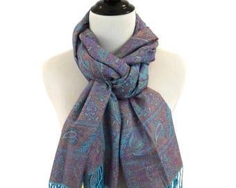Pashmina Scarf Purple Scarf Blue Scarf Pashmina Shawl Gift For Her Pashmina Wrap  Women Accessories Mothers Day Pashmina Scarves Gift Idea