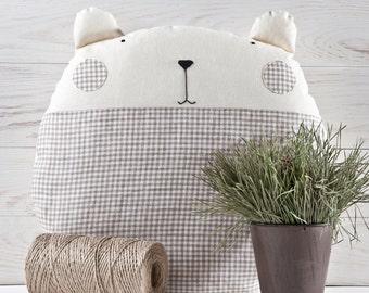Nursery Pillow, Baby Boy Bedding, Primitive Bear Toy, Round Cushion, Children's Room Decor, Baby Shower Gift, Boy Nursery Decor, New Mom