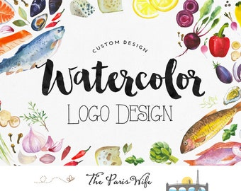 Benutzerdefinierte Logo Design Aquarell Logo Obst Logo Veggie Essen Logo florales Logo-design Boutique Logo branding Restaurant Logo Entwurf Brandstempel