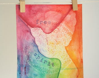 "Hummingbird painting ""Free Spirit"" watercolour, rainbow mandala painting"