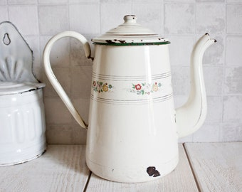Antique French Enamelware Coffee Pot || Floral Liseret - Home Decor - Country Style - Shabby Chic