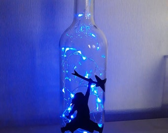 Handcrafted LED Bottle Lamp.  Pantera