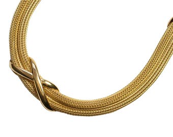 Vintage 18ct Gold Woven Crosses Necklace