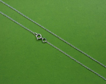 Sterling Silver 925 Chain Necklace made any length for charms,pendant,Dainty Cable 1mm choose 15 inch,16,17,18,19,20,21,22,23,24,25,26,14,13