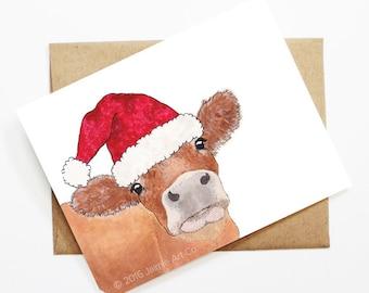 Christmas Card - Cow, Cute Christmas Card, Animal Christmas Card, Holiday Card, Xmas Card, Seasonal Card, Christmas Card Set, Cow Card