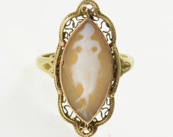 10k 1970's Marquise Cameo Ornate Scroll Trim Ring Gold