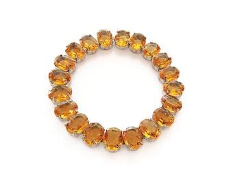 Art Deco Citrine Czech Glass Bracelet - Czechoslovakia, Citrine Glass, Orange Stones, November Birthstone, Antique Jewelry