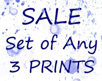 Make Your Set of Any 3 Watercolor Prints, Watercolor Art, Home Decor, Wall Art