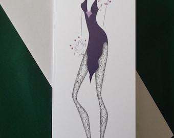 Greetings Card, fashion, fashion illustration, purple, chic, ArtFashionByRomilly, purple shoes, lacy stockings