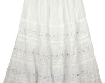 Royal White Embellished Cotton Skirt