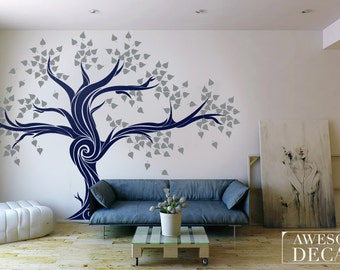 Tree wall decal / Tree wall sticker / Removable wall decal / Wall decal tree / Large wall decals / Living Room Decal