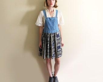 vintage jumper dress 90's denim boho hippie grunge 1990's women's clothing size small s