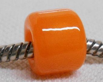 European Style Large Hole Charm Bead Handmade Lampwork Bead Orange Cylinder Bead
