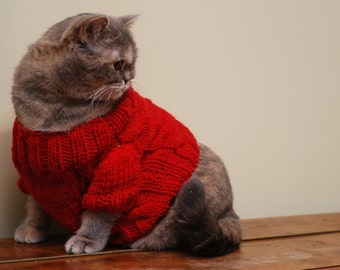Red Sweater for Cat, Cat clothes, Warm hand knitted sweater, Cat pullover, Winter clothes for cats, Knit sweater, Love gift, Hit