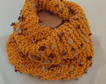 Mustard Knit cowl wiith special yarn / knitted scarf/mustard scarf/ mustard knit snood /Ready to ship scarf/cowl/Yellow knitted scarf