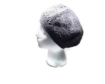 Summer Cotton hat beret cap crochet gray beanie