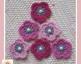 Crochet Flower Embellishments, Crochet Flower Appliques, 6 Crochet Flowers