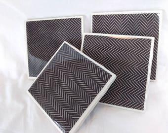 Modern Minimalist Black-and-White Modge Podge Scrapbook Paper Handmade Ceramic Tile Coasters - Waterproof and Heat-resistant
