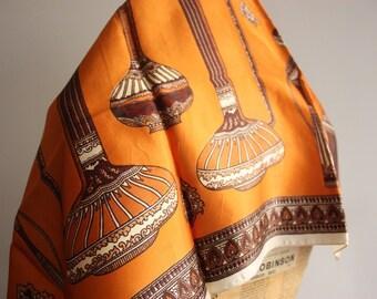 Vintage 1960's Scarf, Grecian Urns, Groovy Scarf, Orange & brown, 1960's Greek Style