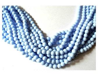 35 Vintage glass beads unique blue 6mm