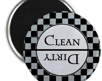 Grey Check Clean Dirty Dishwasher Magnet
