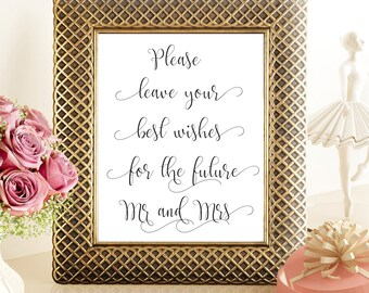 SALE 70% Best Wishes for the future Mr Mrs sign printable, Printable Wedding Sign, digital please leave your wishes for the mr mrs