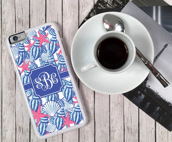 iPhone 8 Case Nautical Monogrammed Personalized iPhone 8s+ 6 5 5c 5s S6 Edge Samsung S6 S5 Tough Plastic Custom She Shells Lilly Inspired