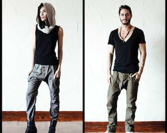Urban drop crotch harem pants with slim leg / impressive low crotch pants unique pockets / Drop crotch slim leg men / Slim drop crotch women