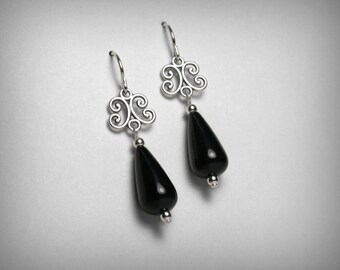 Black Onyx Earrings, Filigree Earrings, Sterling Silver, Genuine Black Onyx, Drop Dangle Earrings, Silver & Black Earrings, Silver Filigree