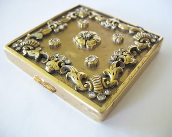CINER Rhinestone Compact, Goldtone Brass, Floral, Vintage 1950's, Square Mirrored, Ornate, Flowers