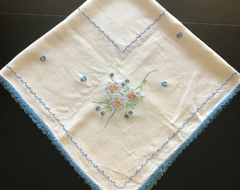 Sweet Vintage Cotton Tablecloth, Card Table Cloth, Embroidered