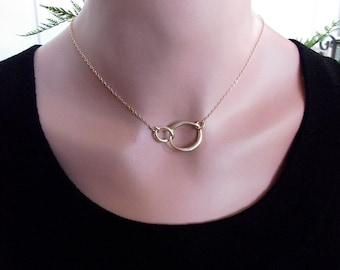 SALE! Eternity Love Necklace - Gold Circle Bridesmaid Gift  Necklace, Two Ring Pendant, Matt  Gold Plated Circle Pendant, Bridesmaid Gifts