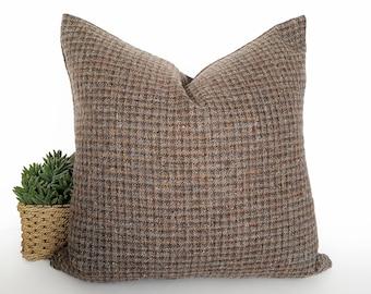 Brown Grey Pillows, Brown Sofa Pillows, Brown Throw Pillow, Cushion Cover, Wool, Gray Check Pillows, Plaid Pillows, Log Home Decor, 20x20