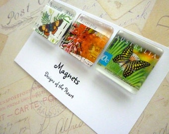 Recycled Australian Stamp Collection - Square Glass Magnet set - Butterflies and Flowers