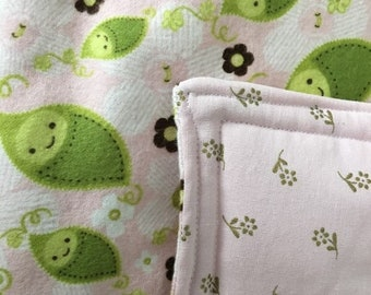 Sweet Pea Pink and Green Cotton Baby to Toddler Blanket
